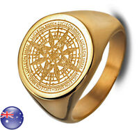 Men's Gold Plated Stainless Steel Base Mysterious Compass Craft Man Ring M23