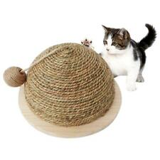 Wooden Bottom Plate Straw Semi-circular Cat Claw Grinding Tool With Hanging Ball