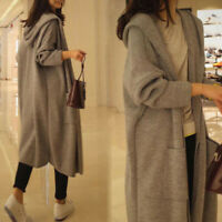 Women Hooded Open Front Long Sleeve Knit Cardigan Sweater Coat Loose Warm Casual