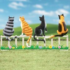 Kitty Cats on a Picket Fence Garden Statue Metal Stake Yard Lawn Ornament Decor