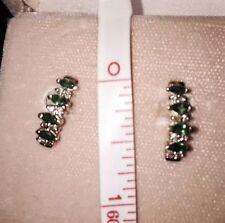 "Emerald & Diamond 2/3""  Earrings Studs Blue Heron Jeweler Receipt SALE Valentine"