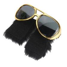 Novelty Side Whiskers Gold Sunglasses Funny Beard Glasses 70s Disco Costume