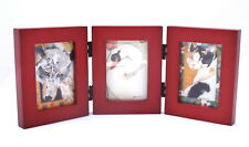 ACEO picture frame for 2.5 x 3.5 art - three openings - HINGED frame - ROSEWOOD