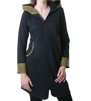 Damen Sweat Jacke aus Baumwolle Hippie Goa Psy Mantel Kapuze von Kunst und Magie
