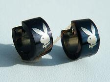 Boucles d'oreilles 100 % Acier Inox Noire Lapin Playboy