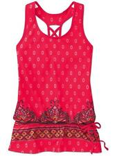 NEW Athleta Tic Tac Toe Tank Top Shelf Bra Workout Drawstring Red Drop waist  *
