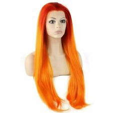 Two Tone Orange Extra Long Synthetic Lace Front Straight Wig