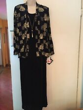 Women's NWT R&M Richards Navy Sleeveless Maxi Dress With Long Sleeve Jacket--12P