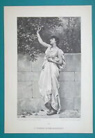 GREEK GIRL Young Maiden Summer Time Picking Fruits - VICTORIAN Era Print
