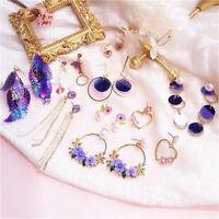 Women Korean Crystal Tassel Heart Pearl Ear Dangle Drop Stud Earrings Jewelry