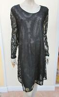 Cute Ann - Womens Black Semi Sheer Lace Long Sleeved Dress - size XL