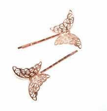 2 x Rose Gold Butterfly Hair Grips Baroque Bobby Pins Clips Bridesmaid Vtg 1182