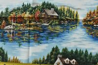 """35"""" Long, Large Lakefront Scenes on Blue Quilt Fabric/RJR/Whispering Pines,C2567"""