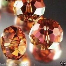 Wholesale!  100pcs Orange +AB Crystal Loose Beads 4x6mm