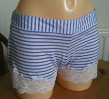 Blue stripe bed shorts size 8 with lace trim Bnwot lovely soft material