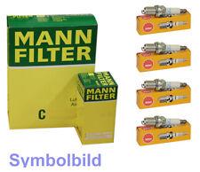 4 NGK Zündkerzen+MANN Öl,Luftfilter für CITROEN C2,C3 I; PEUGEOT 1007,207