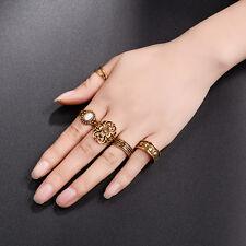 10pcs Boho Vintage Turquoise Elephant Flower Ring Set Midi Finger Knuckle Rings