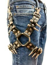 Real Bullet Thigh Harness Leather Harness Fetish Thrash Metal Punk Rocker Silver