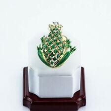 DESIGNER HIGH END FROG RING DIAMOND RUBY ENAMEL 18K YELLOW GOLD SIZE US7.5