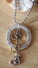 "Good Karma Inhale Exhale Om Silver Gold Bronze Aum Pendant Necklace 18"" Ohm"