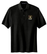 U.S. Army Logo Embroidered Black Polo Sport Shirt S-5XL