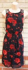 NEW LOOK BLACK RED ROSES LACE FLORAL SKATER A LINE RARE TEA VTG DRESS 6 XS