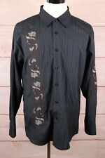 FRANKY MAX Original Long Sleeve BF Casual Shirt Black Embroidered Men's Sz XL