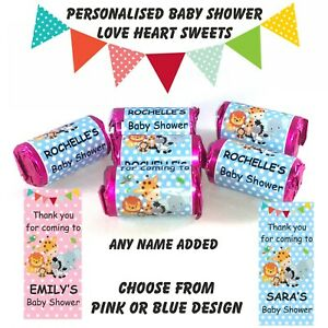 Personalised Mini Love Hearts Baby Shower Sweets Thank you for coming any name