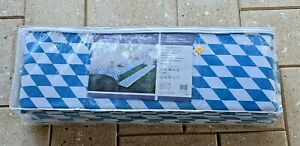 Deluxe Bavarian Blue & White Picnic Table Cover with 2 Cushions, 3-Piece Set