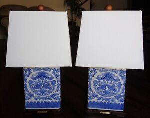 SET OF 2 RALPH LAUREN TABLE LAMPS PORCELAIN KOI FISH FLOWERS MANDARIN BLUE PAIR