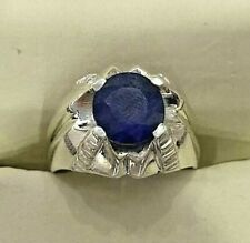 Natural African Blue Sapphire Neelam Semi Transparent Ring Sterling Silver Men