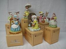6 Avon Bunny Easter Figurines Cherished Moments - Precious Moments Exclusive NIB