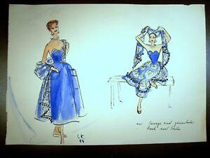 Elegant Dress Fashion 1954 Original Watercolor Sketch By C. Schattauer Kelm