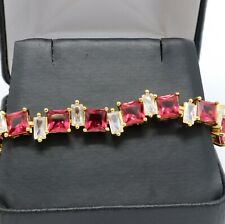 Princess Red Ruby Tennis Bracelet Wedding Engagement Jewelry Yellow Gold Plated