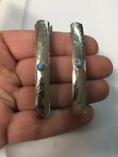 """Navajo Indian Sterling 1 Pair 2 3/4"""" Hair Clip Barrette Turquoise Native Made 14"""