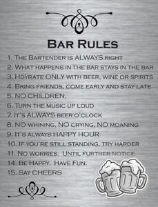Bar Rules - Plaque Metal Tin - Man Cave Shed Garage Home Pub - Funny