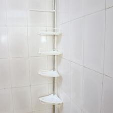 4Tier Shower Corner Pole Caddy Shelf Rack Bathroom Bath Storage Organizer Holder