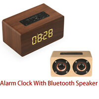 Table Clock Wireless Wooden TF Card Speaker Function LED Display Multifunction