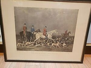 """""""THE EARL OF DERBY'S STAG-HOUNDS"""" 1839 COLOR ENGRAVING by Richard Woodman"""