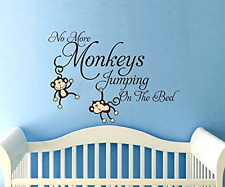 No More Monkeys Jumping Bed Wall Decals Vinyl Sticker Nursery Baby  Room Decor