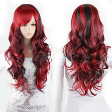 Damen Anime  Lange lockige gewellte Haar Party Cosplay volle Perücke Wig Pop NEU