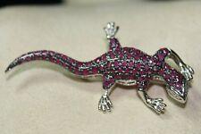 QUALITY 925 Silver & Ruby Gecko Lizard  w/ diamond eyes #S540