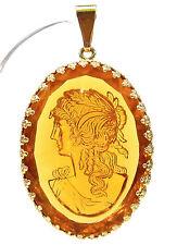 SoHo® Anhänger vintage antik original bohemia glas 1960´s oval gemme topaz gold