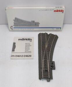 "Marklin 24612 HO 17-1/4"" Radius 24.3° C Track Right Hand Manual Switch Turnout"