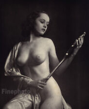 1937 Original ALFRED CHENEY JOHNSTON Female Nude Mirror Art Deco Photo Engraving