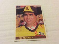 1984 Donruss 139 Sid Monge Padres Autographed Auto Signed Card