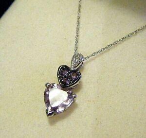 "Kay Jewelers New / Box 10K White Gold 3/4"" Amethyst Diamond Hearts Pendant 1.8g"