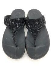 FIT FLOP Black Jewel Beaded Sequin Metallic Shoes Flip Flop Shoe US 9 (J8)
