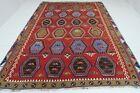 """Vintage Turkish Kilim Extra Large Handmade Wool Red Rug Floor Carpet88,1""""X125,9"""""""