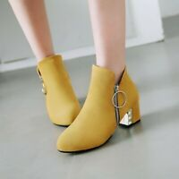 Ankle Boots Women's Zip Up Chunky Low Heels Round Toes Faux Suede Casual Shoes